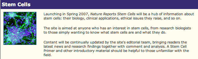 nature report stem cells