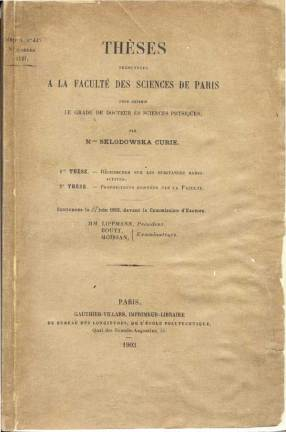 marie curie's doctoral thesis