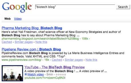 """What Google Universal Search's first 30 results know about """"biotech"""